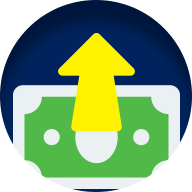 Money up icon in yellow green and blue