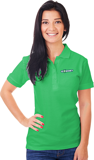 Woman in EZ Money green shirt
